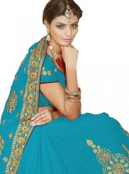 Faux Georgette Resham Blue Saree