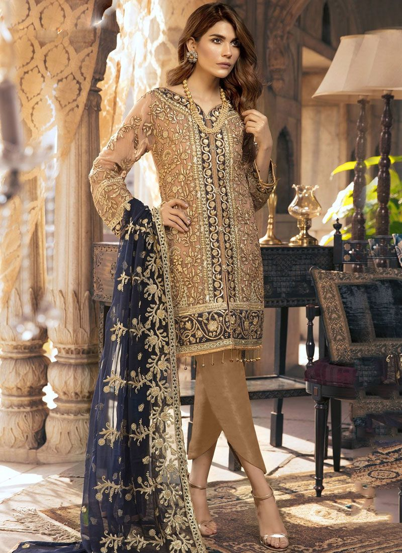 Faux Georgette Resham Brown Designer Suit