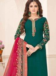 Faux Georgette Resham Churidar Designer Suit in Green