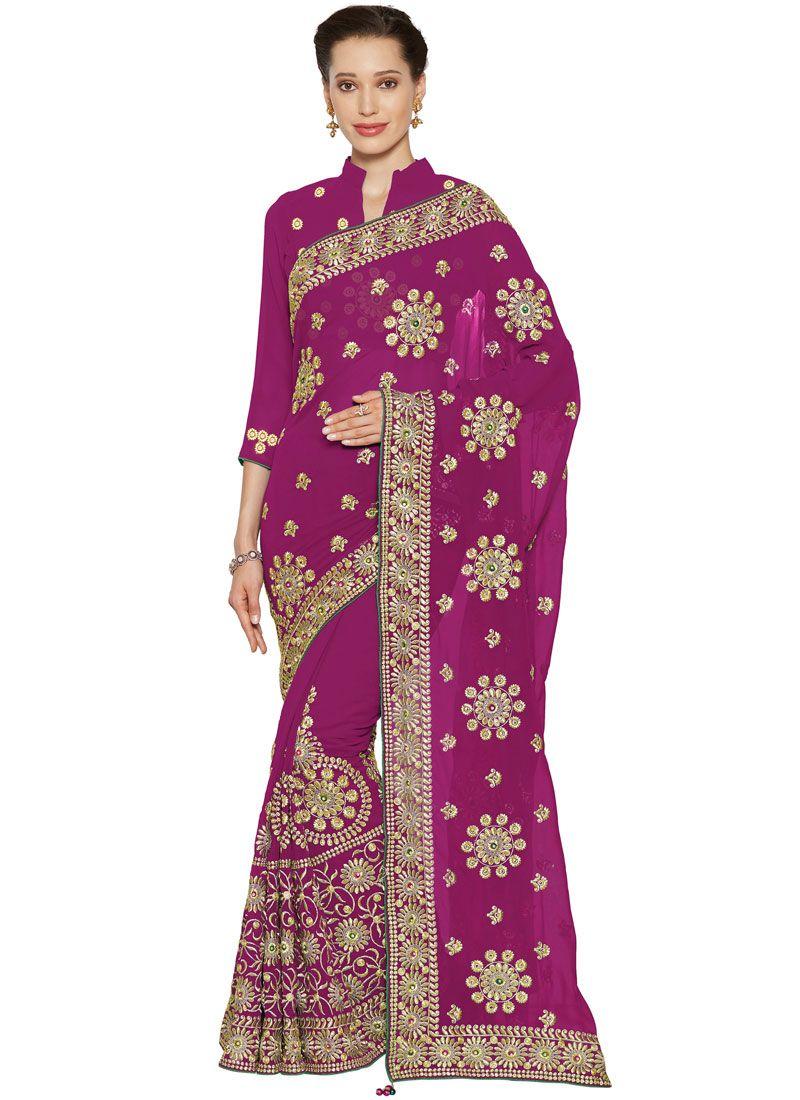 Faux Georgette Resham Classic Designer Saree in Magenta