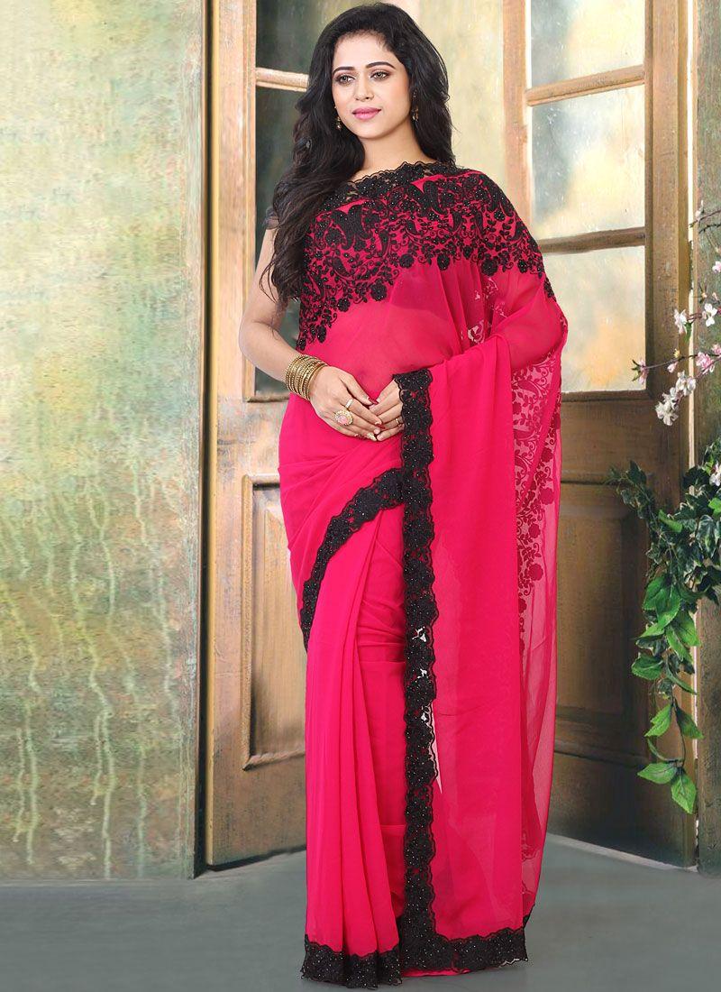 Faux Georgette Resham Classic Designer Saree in Pink