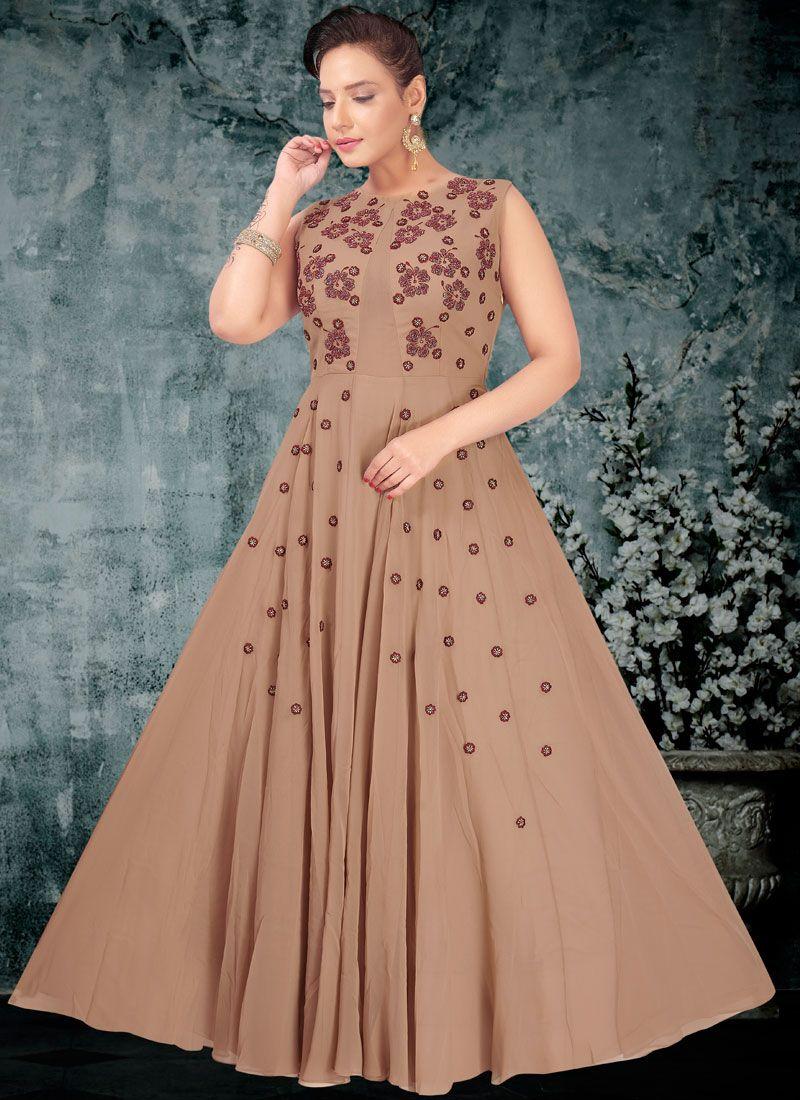 Faux Georgette Resham Designer Gown