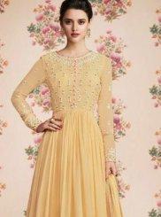 Faux Georgette Resham Designer Pakistani Suit in Yellow