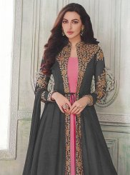 Faux Georgette Resham Floor Length Anarkali Suit in Grey and Pink
