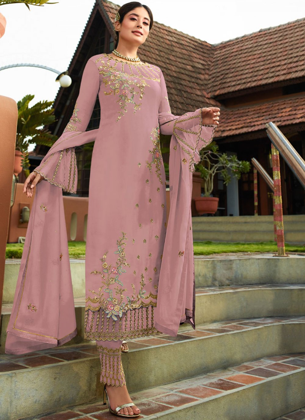 Faux Georgette Resham Pant Style Suit in Pink
