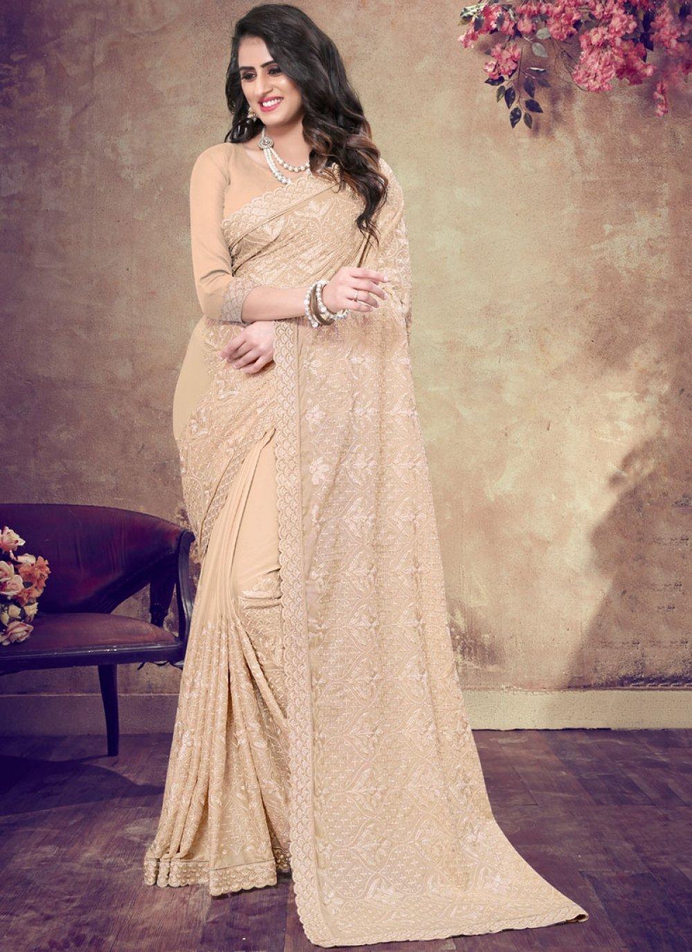 Faux Georgette Resham Peach Classic Designer Saree