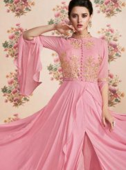 Faux Georgette Resham Pink Floor Length Anarkali Suit
