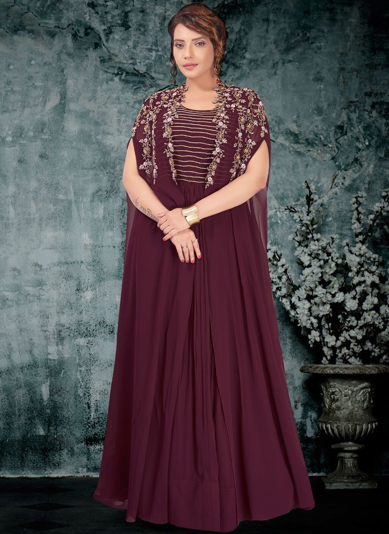 Faux Georgette Resham Readymade Gown