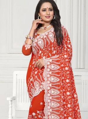 Faux Georgette Resham Red Classic Saree