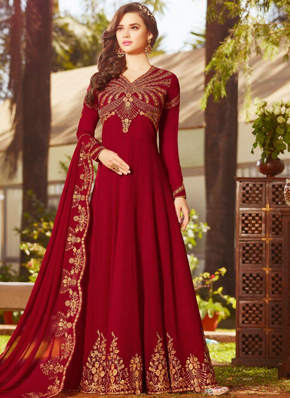 Faux Georgette Resham Red Floor Length Anarkali Suit