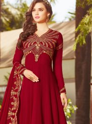 Faux Georgette Resham Red Floor Length Anarkali Suit