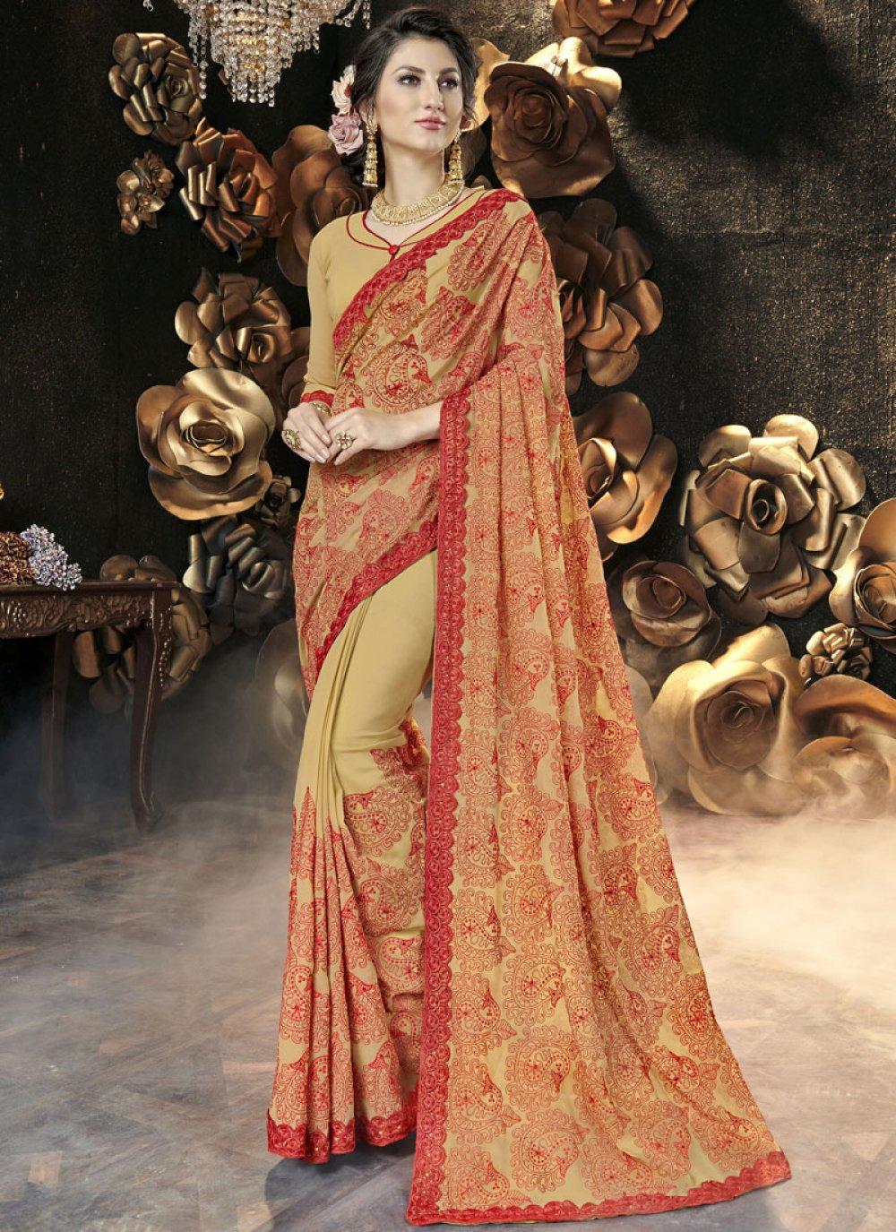 Faux Georgette Resham Yellow Classic Designer Saree