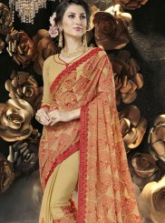 Faux Georgette Resham Yellow Classic Designer Saree