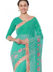 Faux Georgette Sea Green Classic Saree