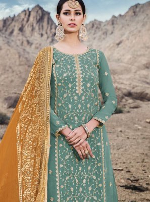 Faux Georgette Sea Green Designer Palazzo Suit
