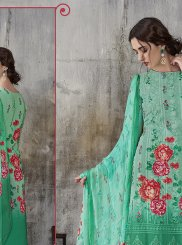 Faux Georgette Sea Green Digital Print Pant Style Suit