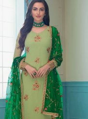Faux Georgette Sea Green Embroidered Churidar Salwar Suit