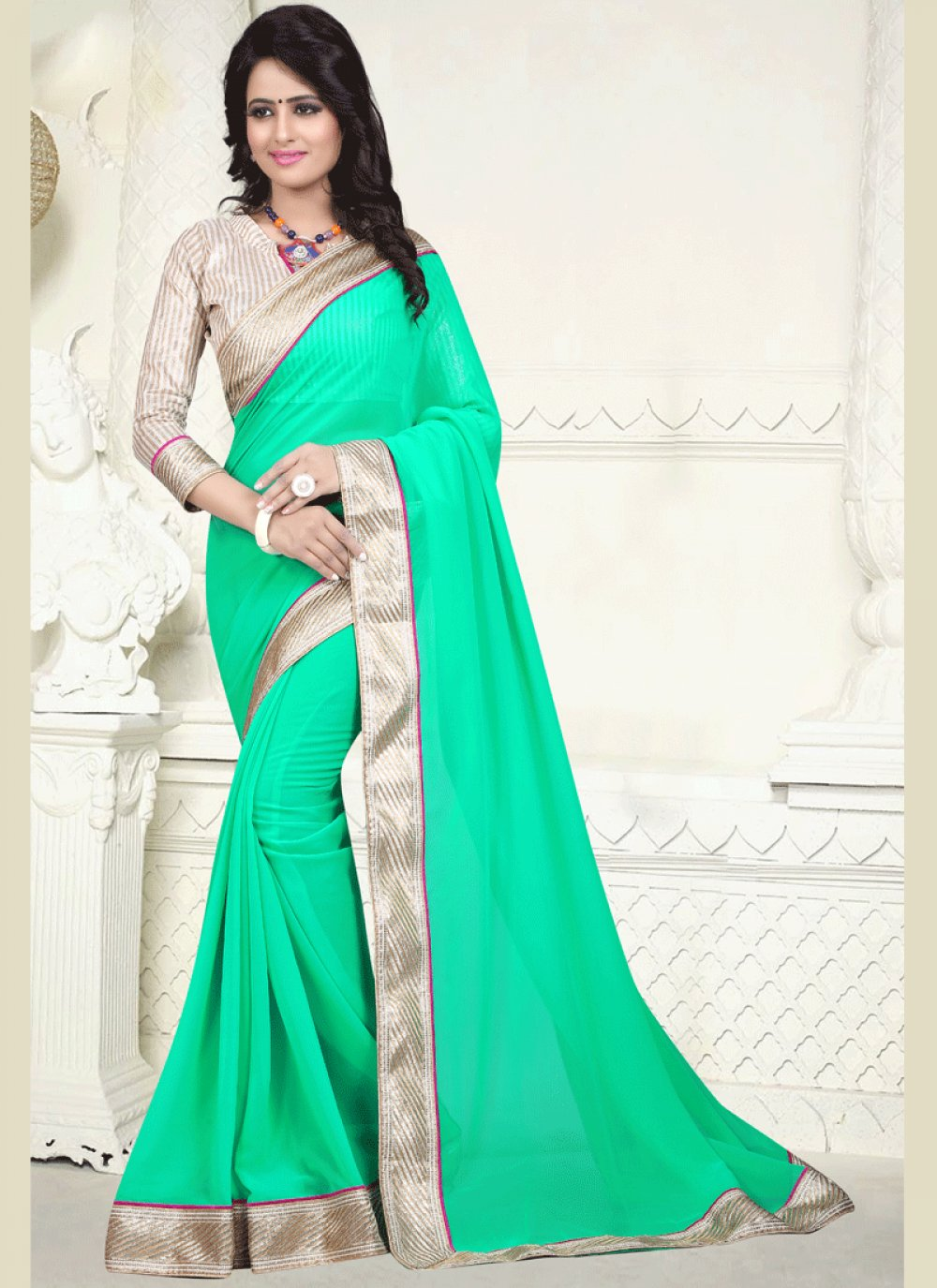 Faux Georgette Sea Green Patch Border Work Casual Saree