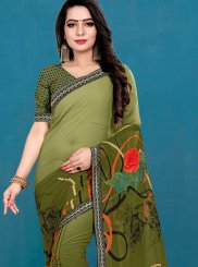 Faux Georgette Sea Green Printed Casual Saree