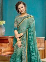 Faux Georgette Sea Green Shaded Saree