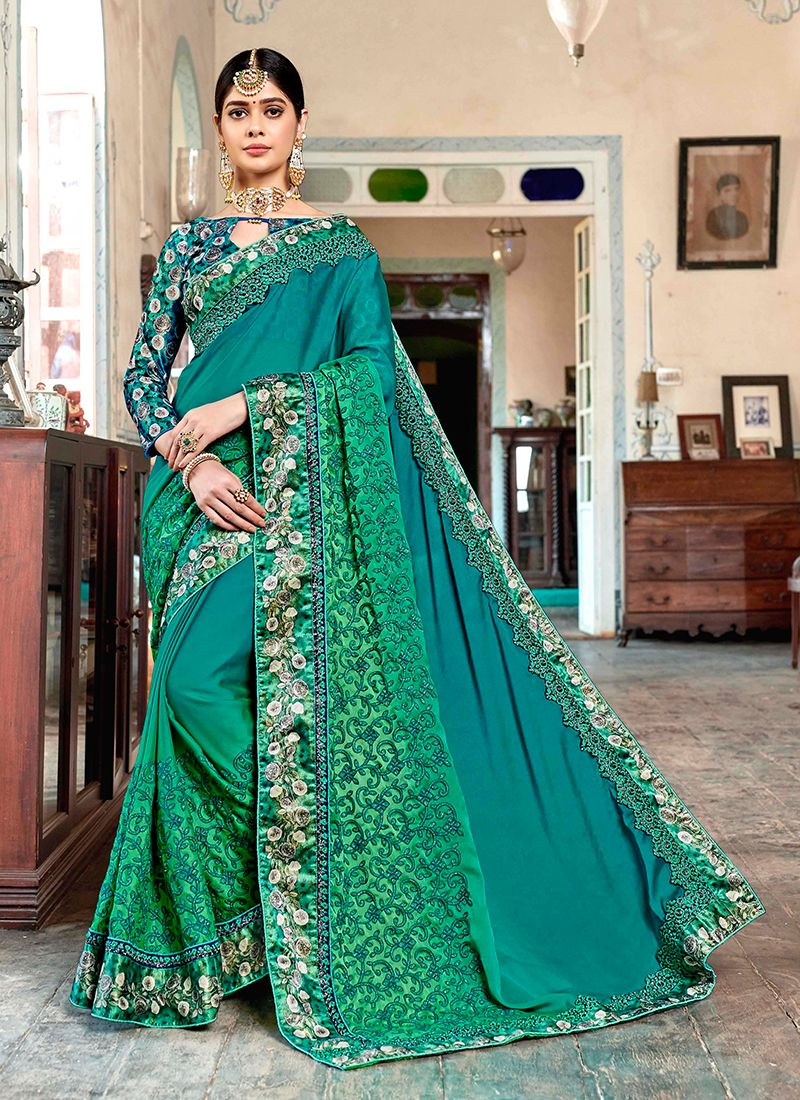 Faux Georgette Sea Green Trendy Saree