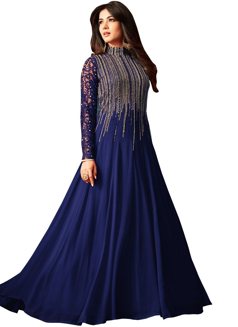 Faux Georgette Sequins Blue Anarkali Salwar Kameez