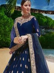 Faux Georgette Stone Work Blue Trendy Anarkali Salwar Kameez