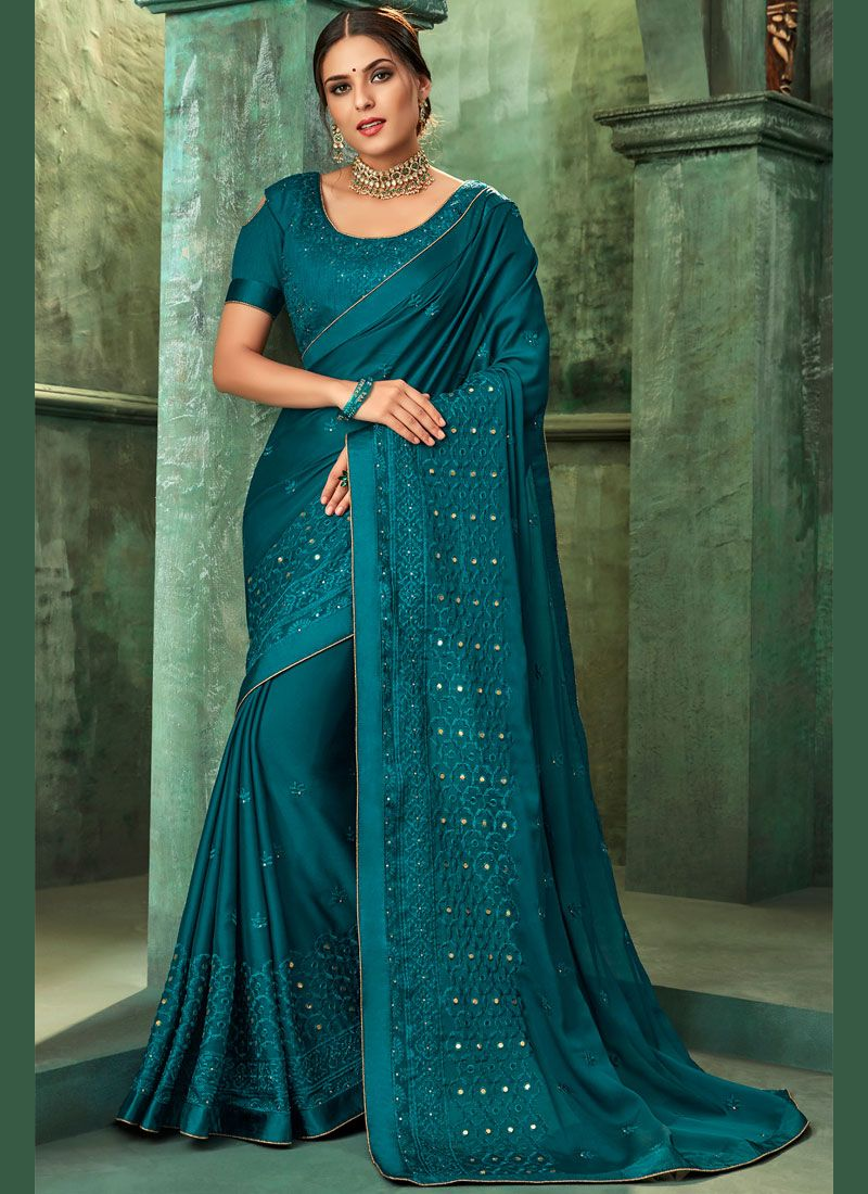 Faux Georgette Teal Designer Traditional Saree