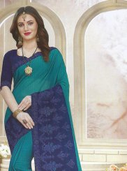 Faux Georgette Teal Embroidered Classic Saree