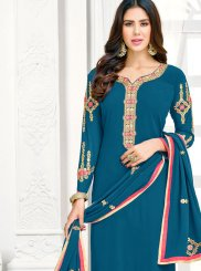 Faux Georgette Teal Embroidered Pant Style Suit