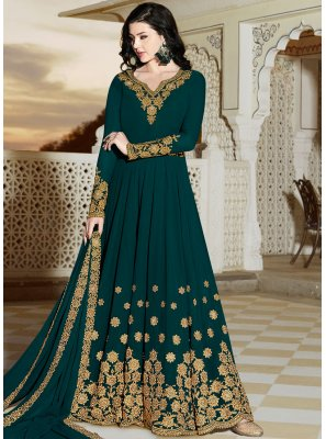 Faux Georgette Teal Patch Border Floor Length Anarkali Suit
