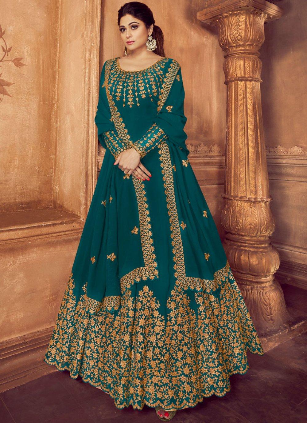 Faux Georgette Teal Trendy Anarkali Salwar Suit
