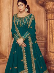 Faux Georgette Teal Trendy Anarkali Salwar Suit