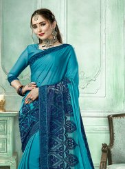 Faux Georgette Traditional Saree in Blue