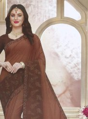 Faux Georgette Traditional Saree in Brown