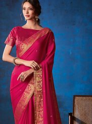 Faux Georgette Traditional Saree in Hot Pink
