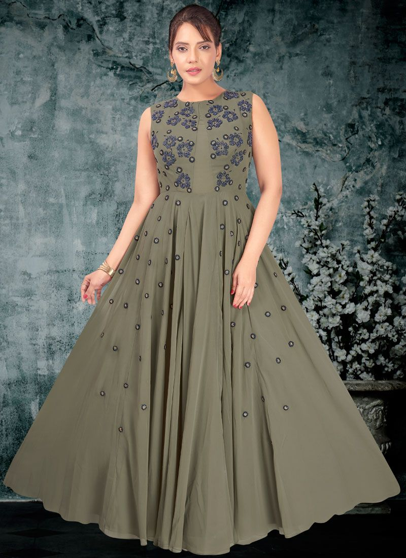 Faux Georgette Trendy Gown