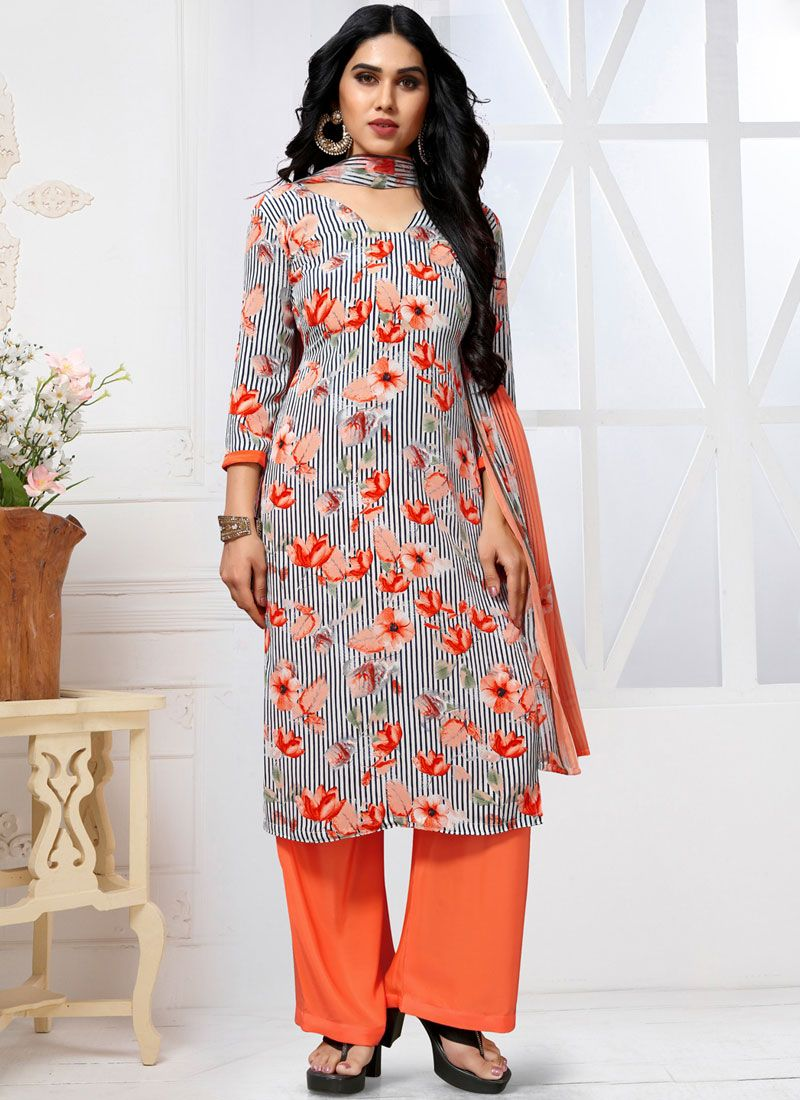Faux Georgette Trendy Pakistani Salwar Suit in Multi Colour