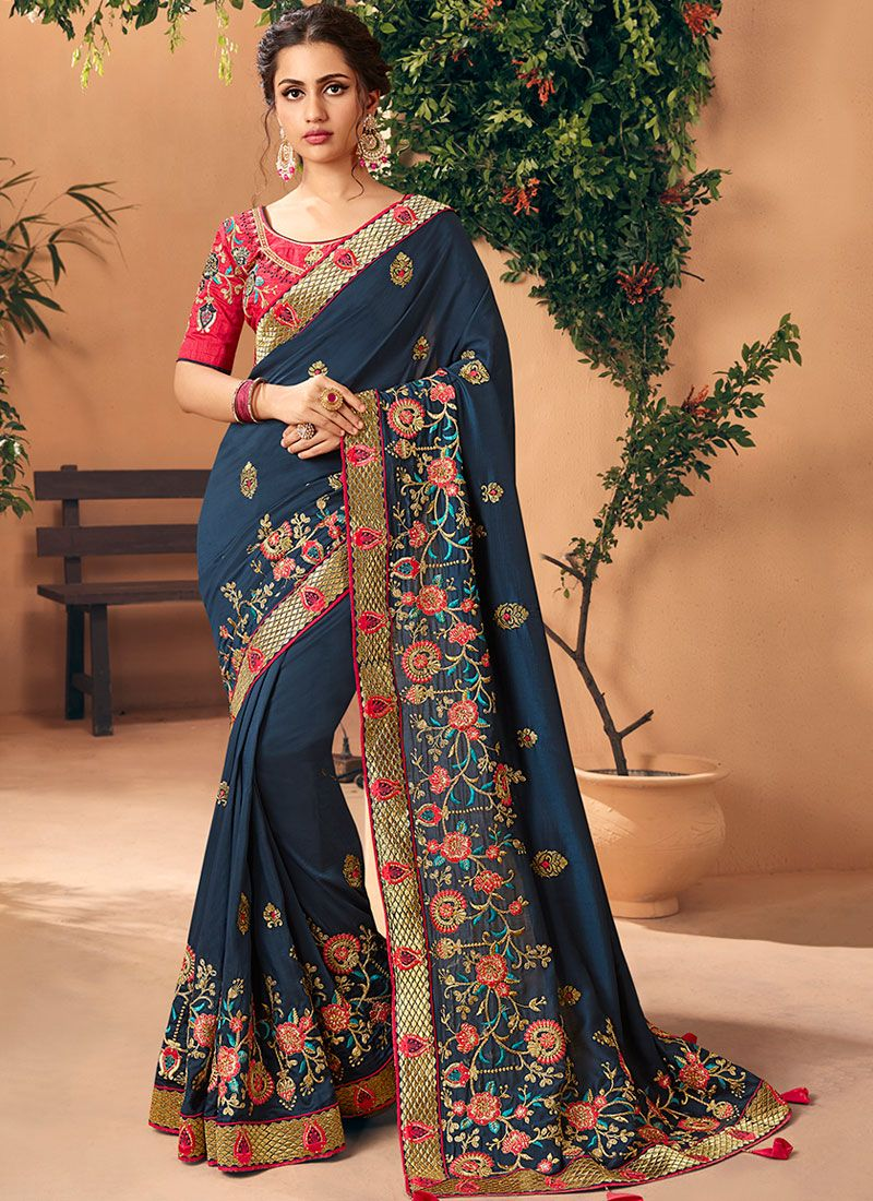 Faux Georgette Trendy Saree in Navy Blue