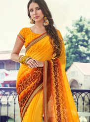 Faux Georgette Trendy Saree in Yellow