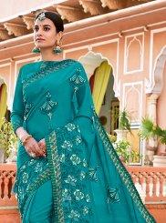 Faux Georgette Turquoise Classic Designer Saree