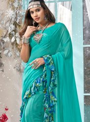 Faux Georgette Turquoise Printed Classic Saree