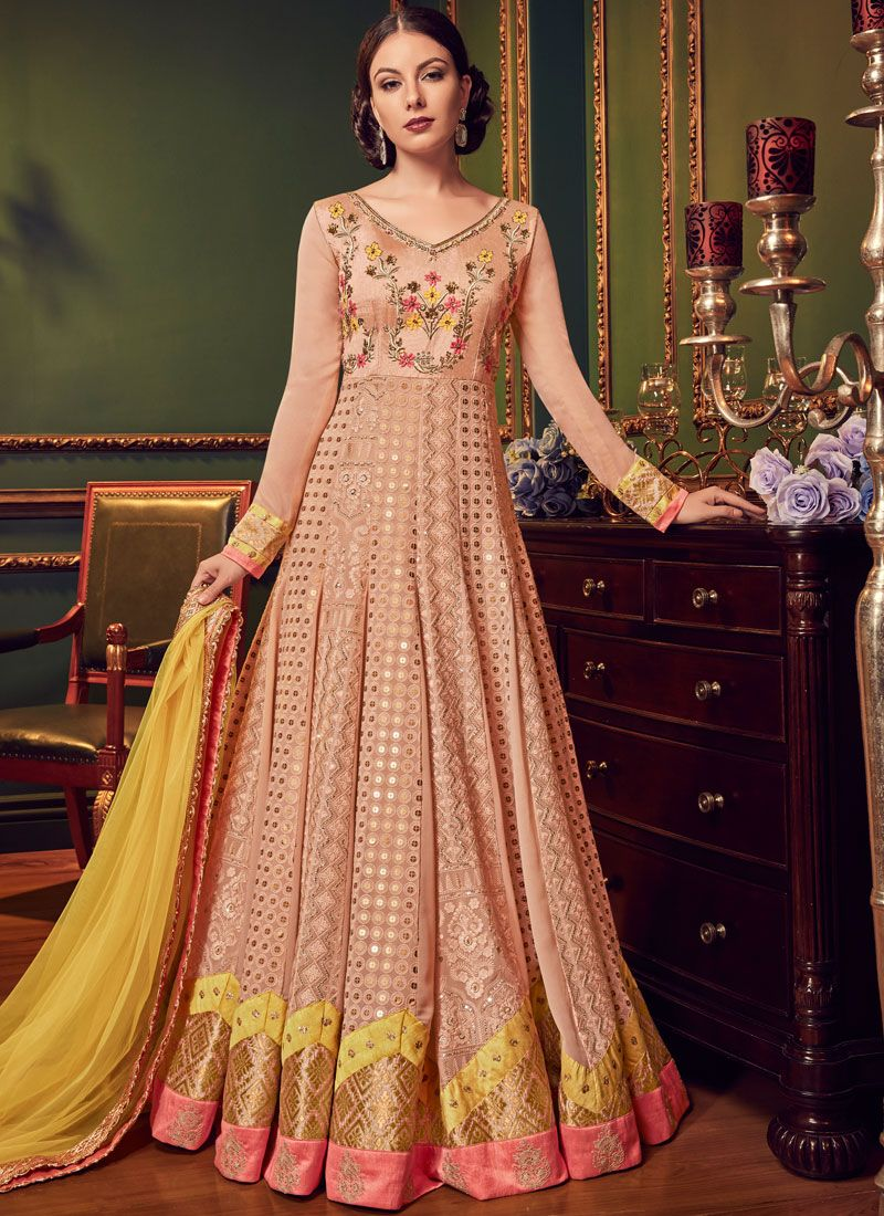 Faux Georgette Wedding Floor Length Anarkali Suit