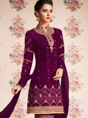 c522faf055 Wine Bhagalpuri Silk Gota Patti Designer Salwar Kameez, Wine Color ...