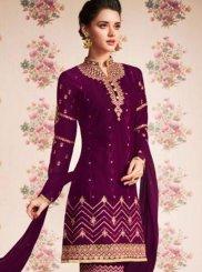 Faux Georgette Wine Designer Pakistani Suit