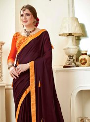 Faux Georgette Wine Saree