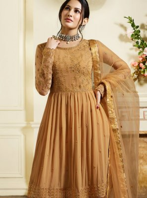 Faux Georgette Brown Designer Pakistani Suit