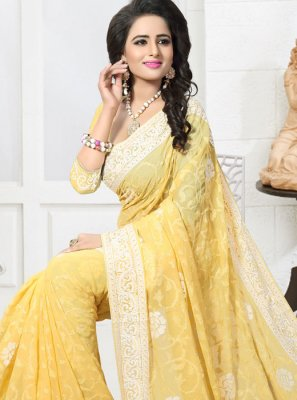 Faux Georgette Yellow Embroidered Work Designer Saree