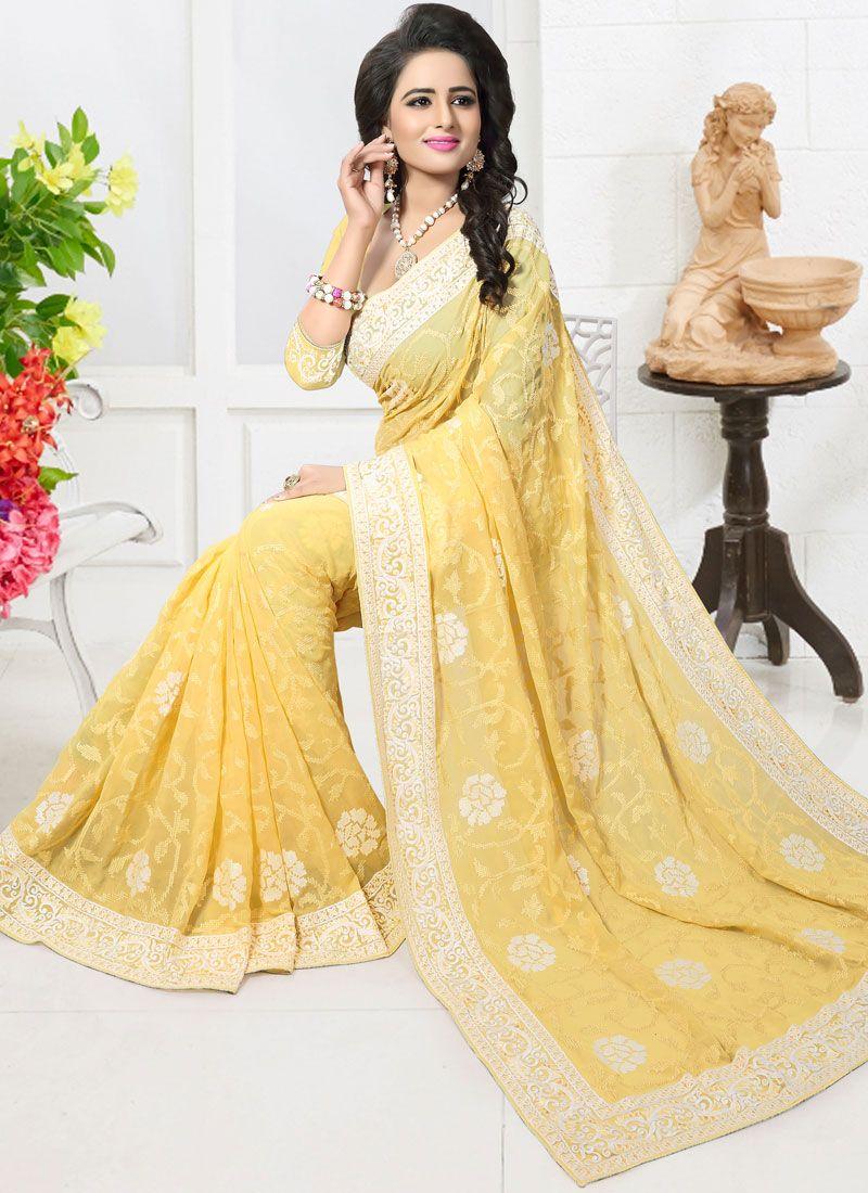 Faux Georgette Yellow Embroidered Work Designer Saree