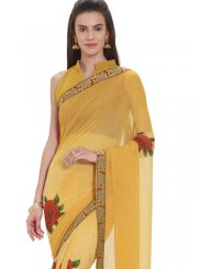 Faux Georgette Yellow Printed Casual Saree